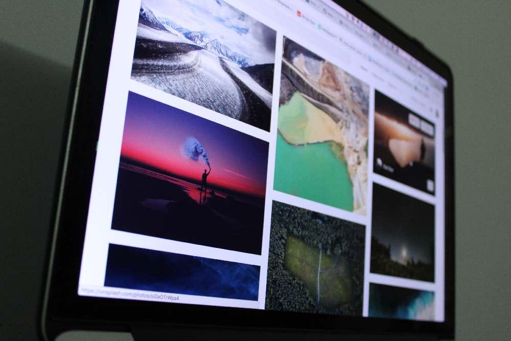 Fotos auf Bildschirm