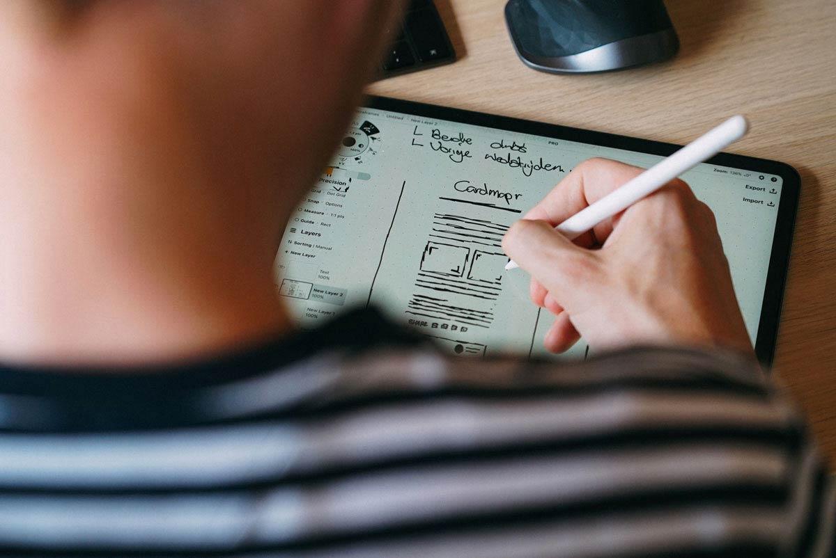 Wireframing auf einem Tablet