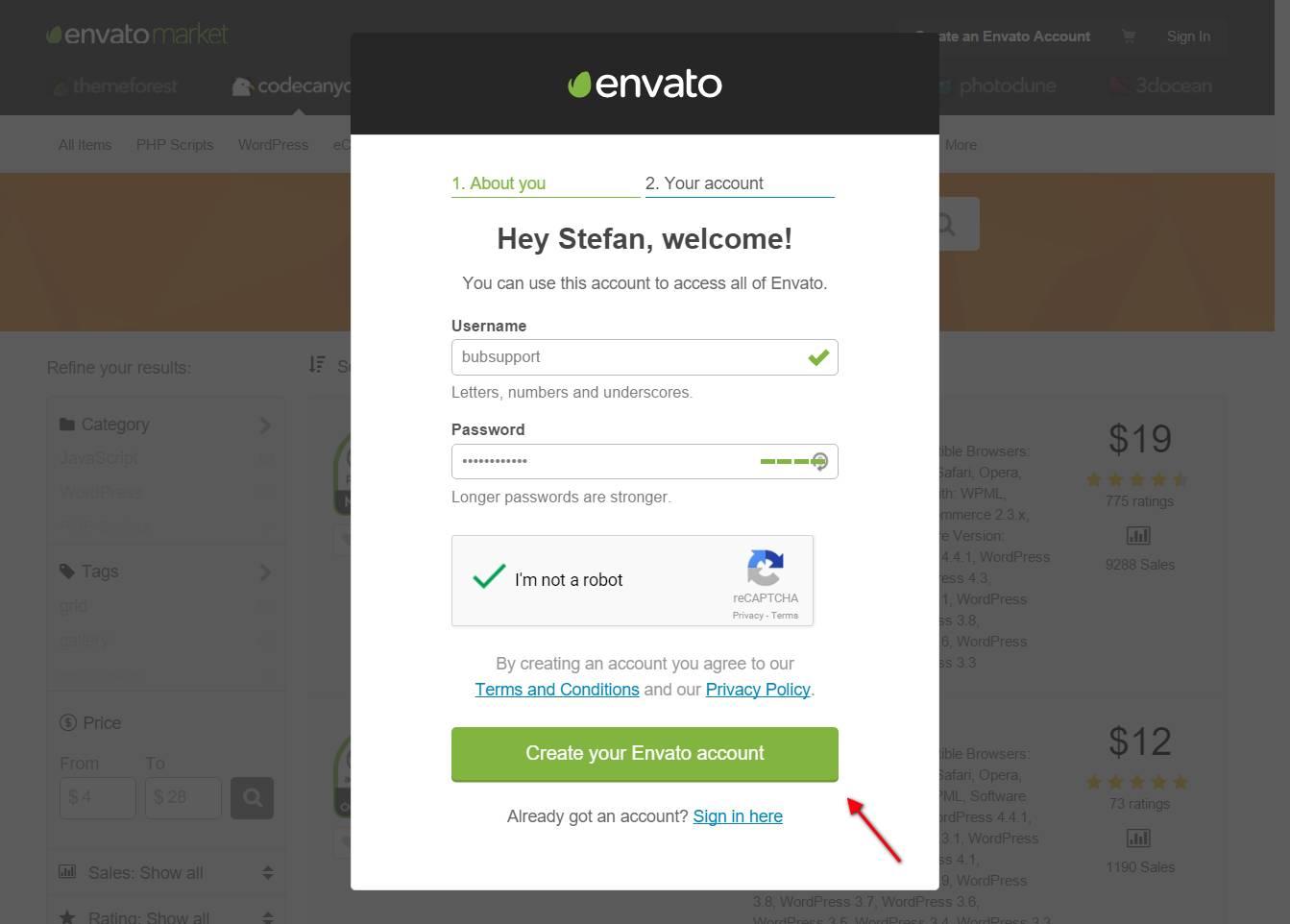 Envato: Benutzername und Passwort