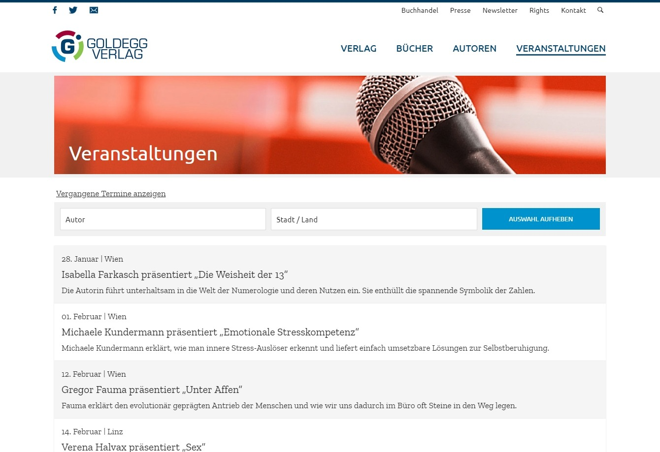 Screenshot: Website Goldegg Verlag