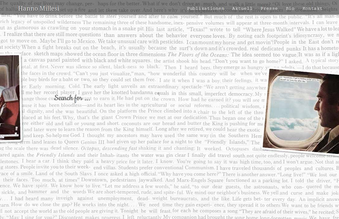 Screenshot Autorenwebsite Hanno Millesi (Buch & Berger)