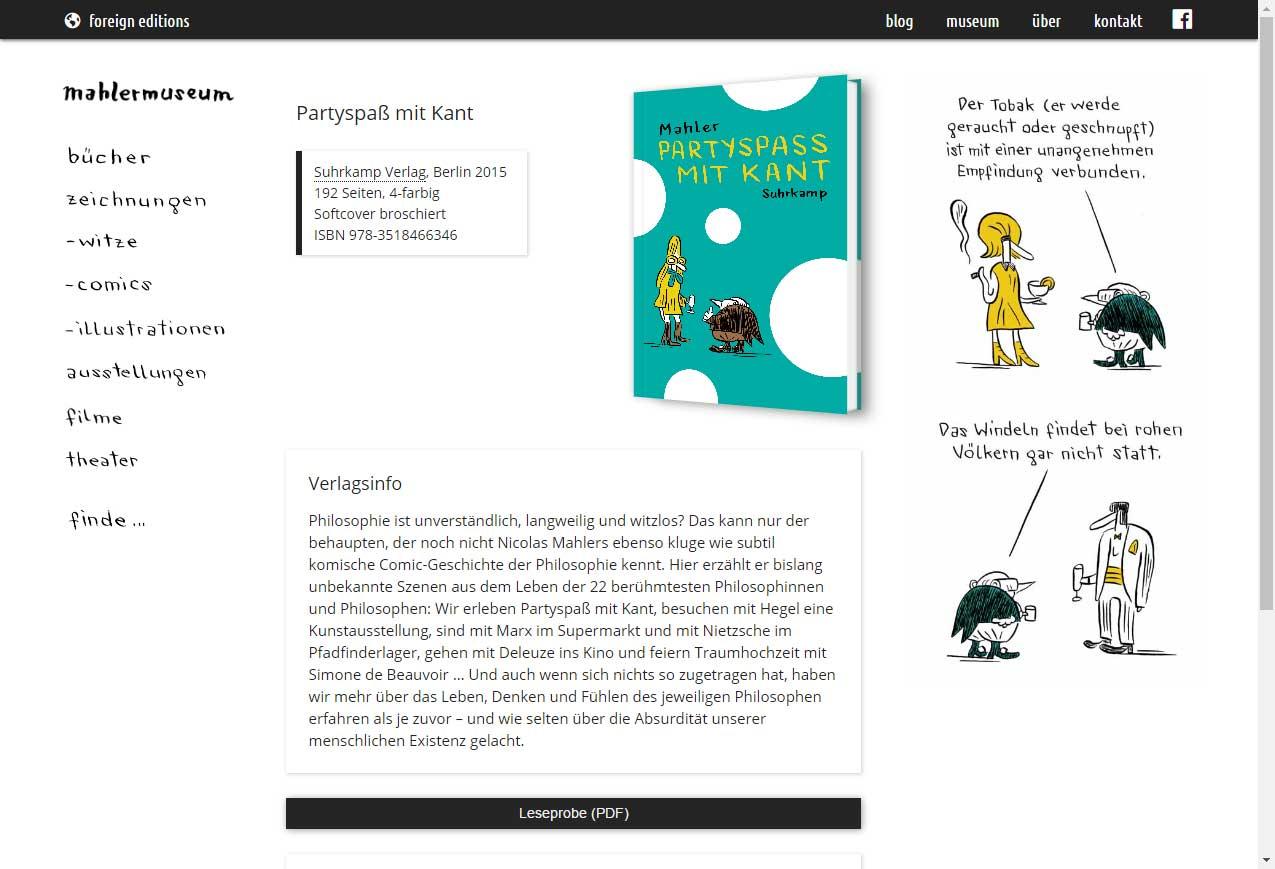 Screenshots Autorenwebsite Nicolas Mahler (Buch