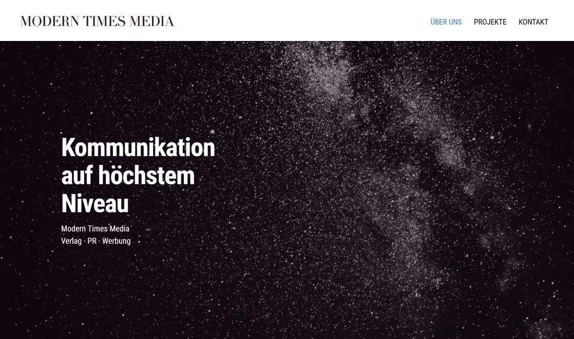 Unternehmenswebsite von Modern Times Media