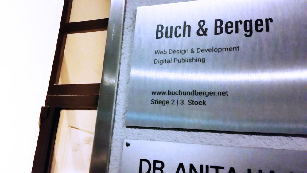 Buch & Berger Firmenschild Wien Lindengasse